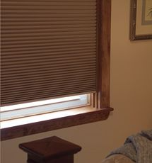 "Comfortex® 1/2"" Single Honeycomb Cellular Shades: Virtuoso Blackout shown in Pinecone"