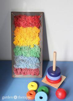 Rainbow moss art for a fun DIY kids project