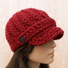 Crochet Newsboy Hat - Cranberry Red - Made to Order. $35.00, via Etsy.