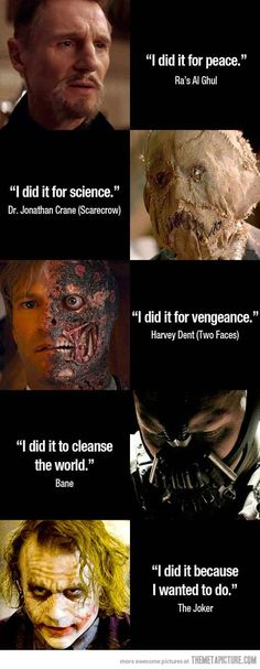 "Batman enemies' motives… ""How does Batman do it?"" -Superman after encountering some of Batman's villians; I think the Joker has the best reason. Le Joker Batman, Joker And Harley, Funny Batman, Batman Stuff, Batman Dark, Batman Humor, Superhero Humor, Superhero Facts, Joker Comic"