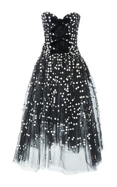 Strapless Bow Embellished Midi Dress by CAROLINA HERRERA for Preorder on Moda Operandi