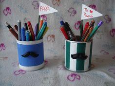 Lapicero de Mostacho. Manualidad día de padre. Moustache pencil box for father's day.