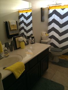 My new cheerful (gender neutral) bathroom! Yellow Black Grey and White.
