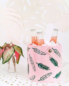 DIY Tropical Palm Frond Ice Bucket