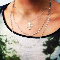 These two handcrafted Single Stone originals are great for layering. Call (213) 892-0772 for more information or visit www.singlestone.com #singlestonela #layer #necklace #cross #love #jewelry #diamonds #downtown #losangeles @singlestonemissionstreet