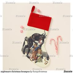 nightmare christmas krampus christmas stocking Ugly Christmas Sweater, Christmas Stockings, Funny Xmas Gifts, Santa Claus Is Coming To Town, Invitation Cards, Keep It Cleaner, Art For Kids, Wedding Gifts, Baby Kids