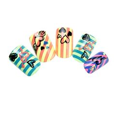 Nadeco Artificial Nails,Loving Heart and Stripe Pattern,Multi Color,24 Nail Covers 12 Size *** Check out this great product.