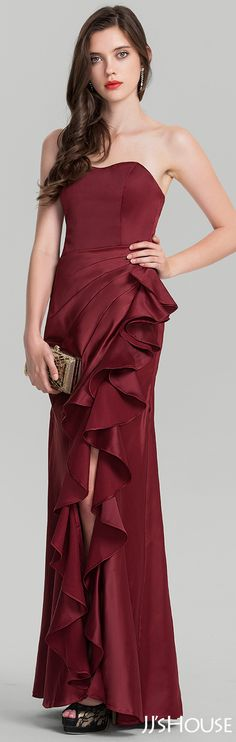 This amazing sheath satin evening dress is so attractive! #JJsHouse #Evening