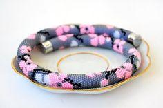 """Купить Жгут из бисера """"Сакура"""" - жгут из бисера, жгуты из бисера, жгут из японского бисера Snake Necklace, Rope Necklace, Bead Crochet Rope, Beaded Crochet, Crochet Necklace, Jewelry Sets, Jewelry Making, Bead Loom Bracelets, Beaded Jewelry"""