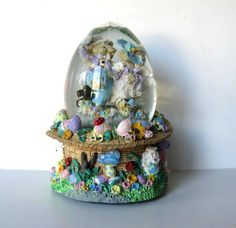"Vintage Bunny Music Box Snow Globe, Peter Rabbit, ""Easter Parade"", Nursery Decor, Easter Bunny, gift idea"