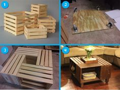 Coffee table from crates: