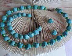 Halloween Skull Jewelry Set - Magnesite Skull Jewelry Set - Teal Turquoise Jewelry Set - Necklace Bracelet Earring Sets - by lanesamarie by lanesamarie on Etsy