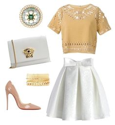 """White-gold dressy"" by klaraszandi on Polyvore featuring Versace, Sea, New York, Chicwish, Charlotte Russe, Chanel and Christian Louboutin"