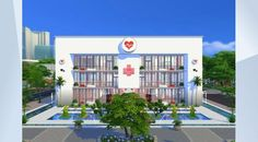 iHearty Clinic & Hospital I GetToWork I 50x50 I by sueladysims | Sims 4 Gallery | Sleek, white, red, black & chic! This is a #hospital with super friendly doctors, nurseries & big hearts. Get well quick, while you are sick! If you work here - u will love the atmosphere! Enjoy the three colored interior which is perfectly modern designed. Kids get separate treatments in a child friendly environment.  1st floor waiting lounge, office, child exam, bath, 2nd nursery, exam, bedrooms, bath, 3rd…