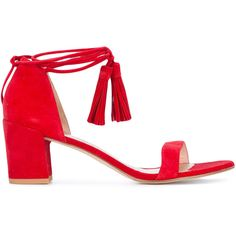 Stuart Weitzman low heel sandals ($460) ❤ liked on Polyvore featuring shoes, sandals, red, ankle wrap sandals, leather shoes, low heel sandals, red ankle strap sandals and red leather sandals