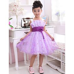 A-line Sleeveless Polyester And Tulle Flower Girl Dresses