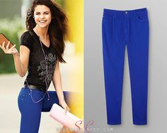 Here you'll find information on the latest outfits that Selena has worn and where to get them. Everything from her day to day, to her award show dresses straight off the runway. Celebrity Clothing, Celebrity Outfits, Selena Gomez Closet, Award Show Dresses, Latest Outfits, Jeggings, Royal Blue, Capri Pants, Photoshoot