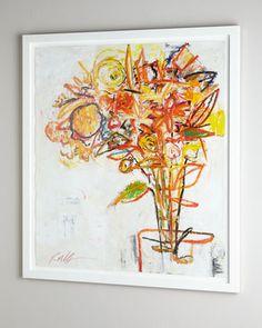 """""""Flowers"""" Gicleet by Rosenbaum Fine Art at Neiman Marcus.  Framed under plexiglass.  58""""W x 1.75""""D x 64""""T.    $2285 + 400 for shipping"""