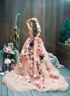 blush pink wedding dress with flowers / http://www.deerpearlflowers.com/floral-wedding-dresses/
