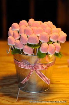 comprar besos y algo verde q haga de hoja. lazo y macetero tengo. hacer en macetero del ikea de flores. hacer dos iguales. etiqueta rosa y blanca q ponga maceta de besos