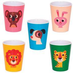 NEW * Melamine cups, 5 different animals - Ingela P Arrhenius
