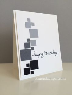 handmade birthday card ... Endless Birthday Wishes ... puched squares in shades of grey create a graphic look ... great card! ... Stampin' Up!