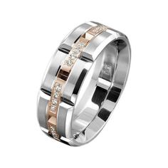 Carlex White & Rose Gold Rectangular Diamond Men's Wedding Band WB-9320RW-S