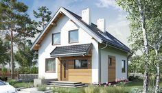 Projekt domu z poddaszem o pow. 74,2 m2 z dachem dwuspadowym, z tarasem, sprawdź! House In The Woods, Tiny House, House Plans, Garage Doors, Outdoor Structures, House Styles, Outdoor Decor, Home Decor, House Ideas