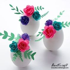 Cricut Joy: Rolled Paper Flowers on Easter Eggs Easter Egg Crafts, Easter Eggs, Easter Bunny, Resin Spray, Rolled Paper Flowers, Chocolate Macadamia Nuts, Toilet Paper Roll Crafts, Monogram Necklace, Rock Crafts