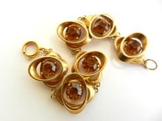 1960 double oval links with big amber crystal by RAKcreations