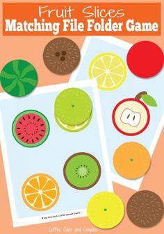 Printable Fruit Slices File Folder Game