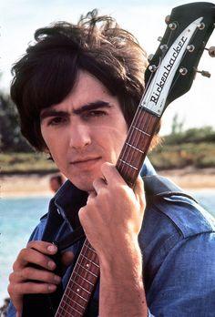 George Harrison on scene in the Bahamas, 1965.