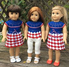 ABC Knitting Patterns - American Girl Doll Independence Day Dress Now I've learnt to crochet I can attempt this new pattern from Elaine. Crochet Baby Dress Free Pattern, Crochet Doll Dress, Crochet Doll Clothes, Girl Doll Clothes, Doll Clothes Patterns, Girl Dolls, Doll Patterns, Free Crochet, Ag Dolls