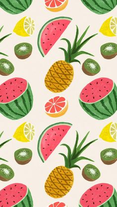 ↑↑TAP AND GET THE FREE APP! Art Creative Pattern Fruits Pineapple Watermelon Summer HD iPhone Wallpaper