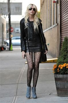 Taylor momsen outfit black leather jacket dress tights and boots cute and punk rocker chick fashion