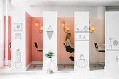 "Phone booths are graced with custom Homepolish graphics, designed in house, and <a href=""http://www.prattandlambert.com/"">Pratt & Lambert</a> paint."