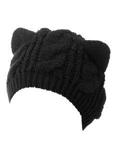 Golf Outfit S Women Choies Women's Acrylic Cat Ears Knit Black Beanie Hat - Black - - Hats Vetement Fashion, Black Beanie, Knit Beanie Hat, Fashion Mode, Fashion Outfits, Fashion Stores, Fashion Hats, Fashion Black, Fashion Rings