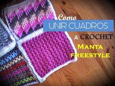 Como UNIR CUADROS a crochet de 2 maneras - manta Freestyle (diestro) - YouTube