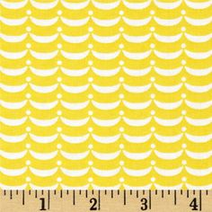 Designed by Lollipop Prainbow for Marcus Fabrics, this cotton print fabric is perfect for quilting, apparel and home decor accents. Colors include yellow and white.