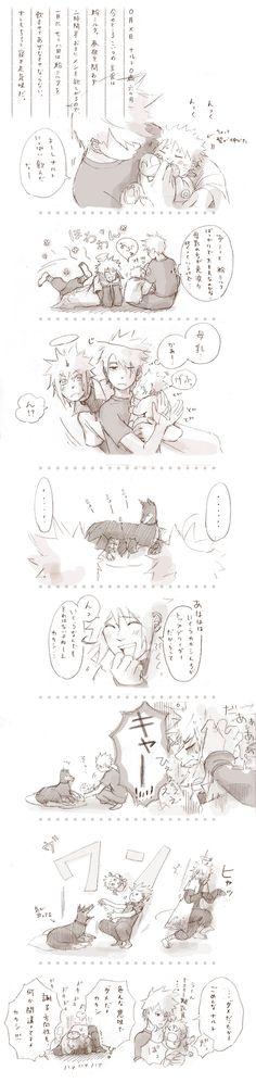 Kakashi and Minato taking care of Naruto