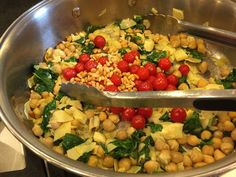 Italian inspired Orzo with Arugula, Artichoke Hearts, Chickpeas, Farmers Market Tomatoes & Pine Nuts, perfect for lunch or dinner:)