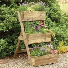 Forest Garden Cascade Planter: A beautiful 3 tiered planter made from FSC approved timber. Attractive addition to any garden. Vegetable Garden Planters, Vertical Vegetable Gardens, Garden Planter Boxes, Wooden Garden Planters, Diy Herb Garden, Patio Planters, Container Gardening Vegetables, Planter Ideas, Vegetable Bed