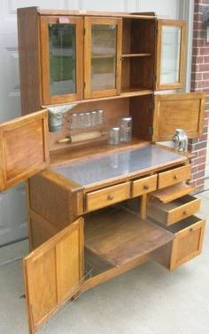 Early Oak Hoosier Style Boone Cabinet with Flour Bin Glass Doors Glass Jars Cabin Furniture, Antique Furniture, Old Cabinets, Kitchen Cabinets, Antique Hoosier Cabinet, Kitchen Queen, Home Goods Decor, Furniture Refinishing, Cottage Design