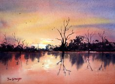 Watercolor Painting | Lake Bonney sunset completed watercolor painting demonstration by Joe ...