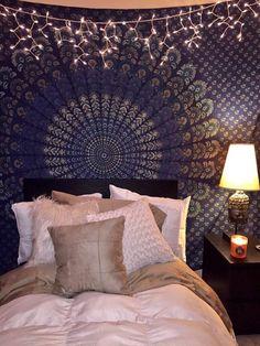 Mandala tapestry, dark blue tapestry, boho bedroom home decor Blue Tapestry, Tapestry Bedroom, Mandala Tapestry, Bohemian Tapestry, Blue Bedroom Decor, Bohemian Bedroom Decor, Bedroom Ideas, Dream Rooms, Dream Bedroom