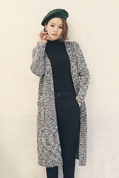 Long Line Mixed Knit Cardigan