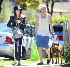 Tom Felton and his girlfriend Jade Olivia Gordon enjoy a sunny afternoon with their pooch in Los Angeles on March 13, 2013.