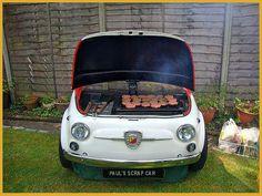 barbacoa con Fiat 500 reciclado