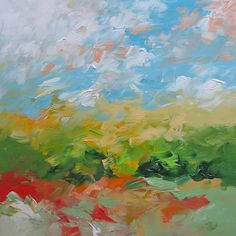 Landscape Painting Original Abstract Painting Fauve Impressionist Art Acrylic Painting on Canvas by Linda Monfort. $350.00, via Etsy.