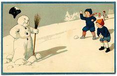 Vintage Clip Art Image - Adorable Snowman - The Graphics Fairy